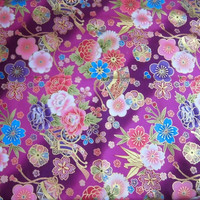 Kawaii cotton fabric diagonal stripes of pink and purple / royal cart and many flowers pattern : width 50 cm length 50 cm
