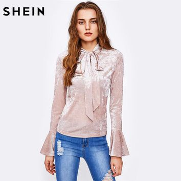 SHEIN Bow Tied Collar Flare Sleeve Crushed Velvet Blouse