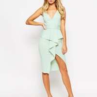 ASOS | ASOS Soft Peplum Wrap With Stitch Detail Belt Dress at ASOS