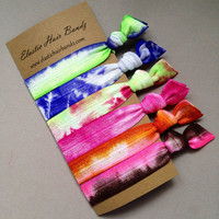 6 Tie Dyed Hair Ties  Ziggy Collection by ElasticHairBandz on Etsy