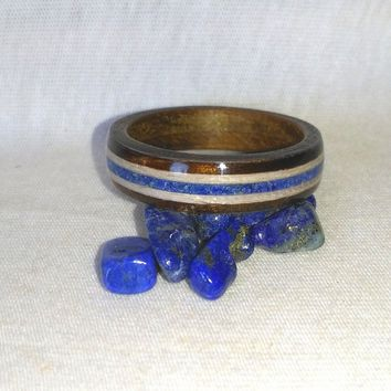 Lapis lazuli grey Ebony in Hickory Bentwood Ring