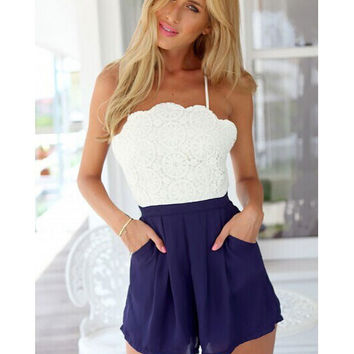 Open Back Halter Jumpsuits Lace Stitching Chiffon Siamese Shorts