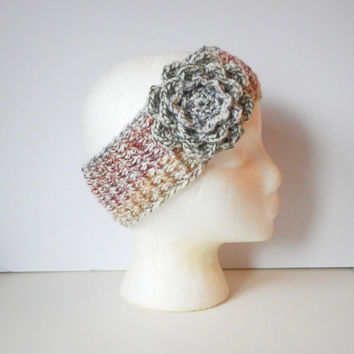 Winter Ear Warmer Headband in Autumn Medley with Large Rose, ready to ship.