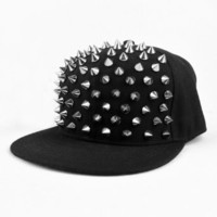 LOCOMO Men Women Punk Hedgehog Rock Hip Hop Silver Rivet Stud Spike Spiky Hat Cap Baseball FFH019 Black