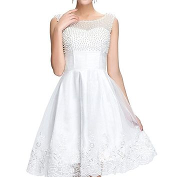 Women's White Bateau Illusion Tulle Cocktail Party Dress Beaded Bodice