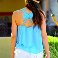 BOW DOWN CHIFFON TANK IN BABY BLUE
