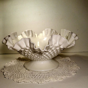 Large Milk Glass Bowl Candy Dish Fruit Bowl Milk Glass Compote Wedding Reception Candy Bar Gift Idea For Her Shabby Chic Retro Hobnail Dish