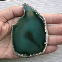Geode Freeform Agate Slice,  huge flat slice, polished, drilled, supply,  deep greens, natural geode edge matrix, white, tiny banded center
