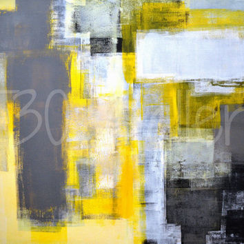 Busy Busy, 2013 - Original Acrylic Artwork Modern Abstract Painting Wall Decorative Free Shipping Black Grey Yellow White 24x30 Canvas
