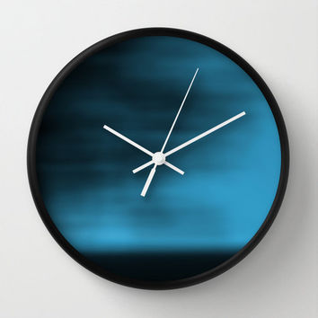 Blue Blurred Sky Wall Clock, Abstract Photography, Nature Photography, Landscape Photography, Minimalist Photo, Blue, Cobalt, Aqua
