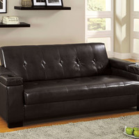 Logan Contemporary Style Design Espresso Finish Leatherette Seat Futon Sofa with Storage under Armrest and Seat, Drink Holders in Armrest