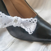 Cotton lace bow shoe clips, white with sparkly star detail