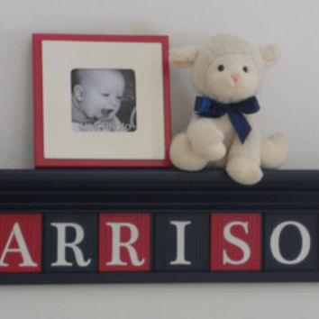 "Train Decor, Baby Boy Nursery Decor, Personalized HARRISON with Choo Choo Trains, Wooden Wall Letters in Red and Dark Blue - 36"" Navy Shelf"