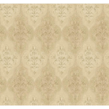 York Wallcoverings RG5009 Fresco Cream, Brown Pearl and Gray Moroccan Damask Wallpaper