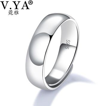 V.YA 925 Sterling Silver Ring Ringent Big Size 4.6MM 5.8MM 6.7MM Wide Finger Rings Classic Cool Men Engagement Wedding Jewelry