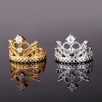 Trendy Gold Fairest Of Them All Crown Ring