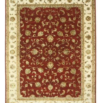 EORC Hand-knotted Wool & Silk Red Traditional Oriental Jaipur Rug