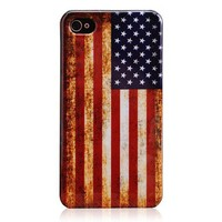 Vintage American Flag Hard Plastic Case for iPhone 4 & 4S
