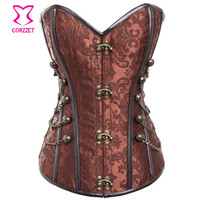 Steel Boned Brown Vintage Steampunk Corselet Plus Size Corset Women Waist Training Corsets And Bustiers Sexy Gothic Clothing 6XL