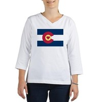 Colorado Love Flag Women's Long Sleeve Shirt (Women's Long Sleeve Shirt (3/4 Sleeve)> I Love Colorado Heart Flag> Sheldon To Mr Darcy Art by Alice Flynn