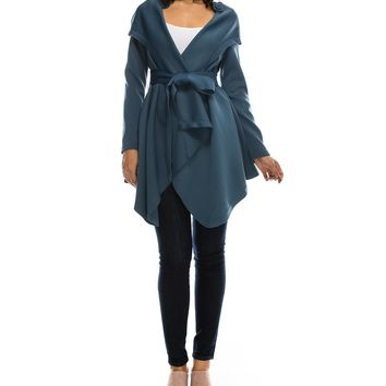 B-Sharp Collection Belted Wrap Solid Teal Jacket | Bluefly.Com