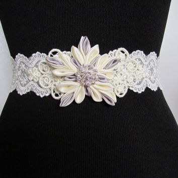 Snowflake Wedding Dress Belt, Kanzashi Flower, Sequin Belt, Lace Sash, Ivory Bridal Sash, Grey Lace Belt