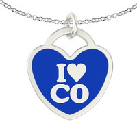 I Love Colorado Sterling Silver Heart Necklace