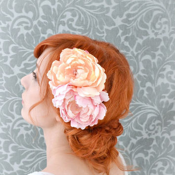 Pink flower comb, bridal head piece, peony hair comb, floral wedding accessories