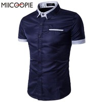 Short Sleeve Men Shirt Fashion Men's Casual Shirt Slim Fit Man Cotton Shirts Turn Down Collar Patchwork Shirt Camisa Masculina