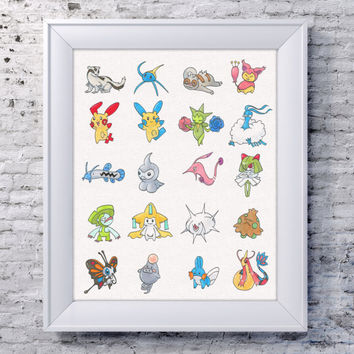 "8x10"" Pokemon Gen 3 Wall Art, Pokemon Illustration, Pokemon Decor, Pokemon Fan, Pokemon Nursery, Pokemon Drawing, Umbreon Wall Art, Mudkip"