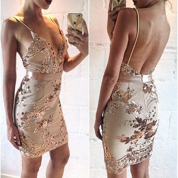 Matilda Rose Gold Sequin Mini Dress For Celebrations Parties Dress Elegant Sexy V Bodycon 2016 Beach Dress Summer Mesh Vestidos