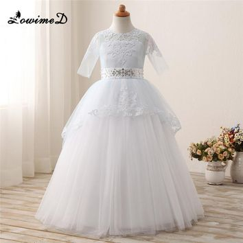 White Flower Girl Dresses For Weddings Long Mother Daughter Gowns Graduation Ball Gown Beading Sash First Communion Dress Custom