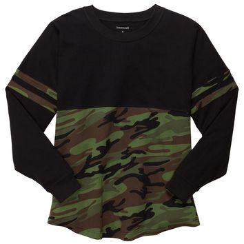 Black and Camo Pom Pom Jersey