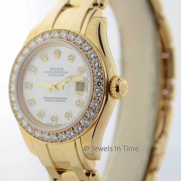 Rolex Ladies Pearlmaster 80318 18K Yellow Gold & Diamonds MOP Dial Watch