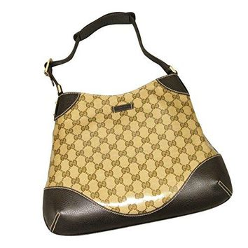 Gucci Women's Brown Crystal GG Canvas Handbag Leather Trim Hobo Shoulder Bag