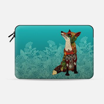 ice floral fox Macbook Pro 13 sleeve by Sharon Turner | Casetify