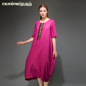 Outline Summer Unique Style Natural 100 linen dresses O-Neck Dress Original Brand Clothing Woman Plus Size Dresses L152Y004