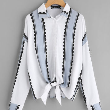 Button Up Knotted Hem Shirt -SheIn(Sheinside)