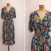 1940s Dress - Vintage 40s Blue Floral Dress - Matins D'Avril Dress