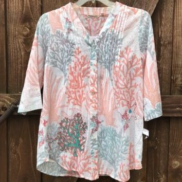 Soft Surroundings Tunic Coral Reef Tropical Shirt Embroidered Sz P Medium NEW