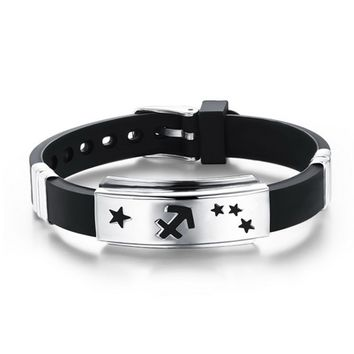 Twelve Constellations Cuff Stainless Steel Genuine Silicone ID Bracelets Leather men's Bangles