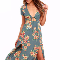 Boho Double Split Floral Print Casual Party Dresses Sundress