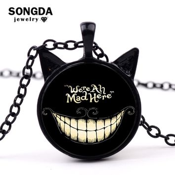 SONGDA Fashion Alice Adventures in Wonderland Necklace Cheshire Cat Pendant Glass Cabochon Necklace We're All Mad Here Jewelry