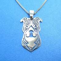 Amstaff Pit bull Dog Face Shaped Cut Out Pendant Necklace in Silver | Animal Jewelry