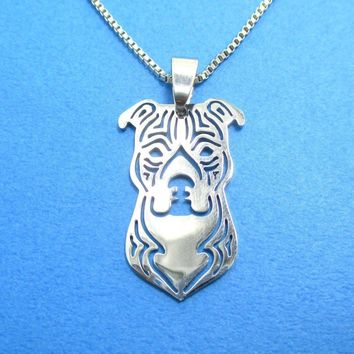 Amstaff pit bull dog face shaped cut out from dotoly the animal amstaff pit bull dog face shaped cut out pendant necklace in silver animal jewelry mozeypictures Images