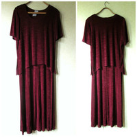 Maxi Dress long loose t shirt tank sheath dress burgundy maroon slinky boho 2 piece stretchy velvet vintage 90s women medium 14 Rabbit