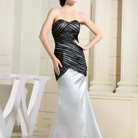 Handmade Custom Black and Ivory Pleated Organza Satin Formal Long Prom Evening Party Bridesmaid Cocktail Homecoming Dress Gown