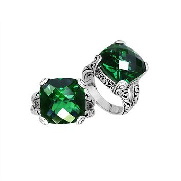 AR-6161-GQ-8'' Sterling Silver Ring With Green Quartz