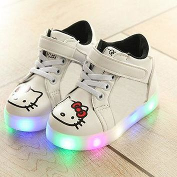 2017 Lovely cartoon kitty children boots colorful lighting shining children shoes Ankle fashion baby kids girls boys shoes