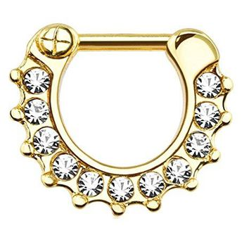 BodyJ4You Septum Clicker Ring 14 Gauge Stainless Steel Crystal Clear Pave Body Jewelry